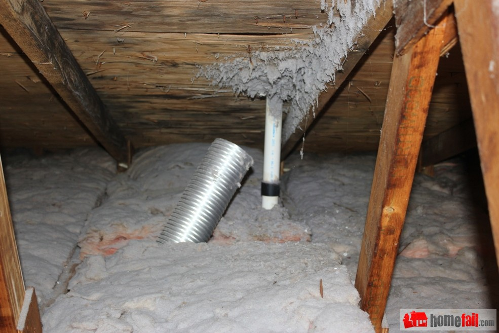 Dryer Vent In Attic Fail Insulation Win Homefail